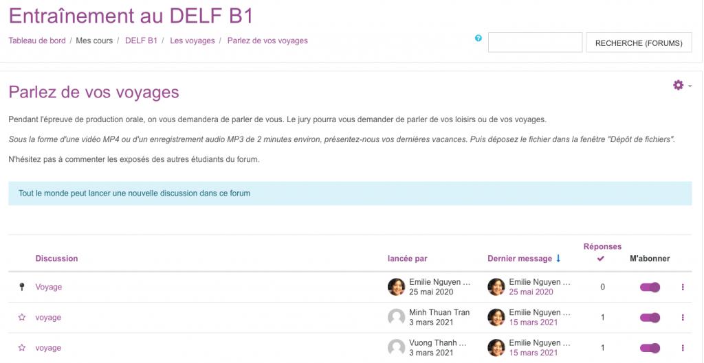 DELF B1 - Forum pour la production orale