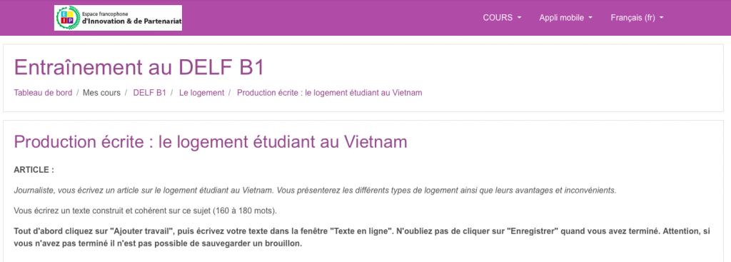DELF B1 - Exercice de production écrite