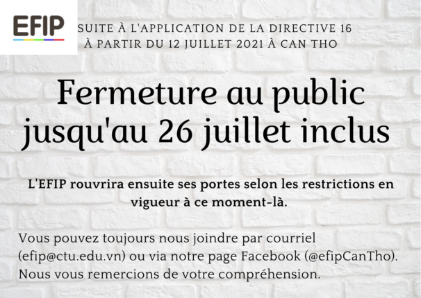Fermeture au public juillet 2021